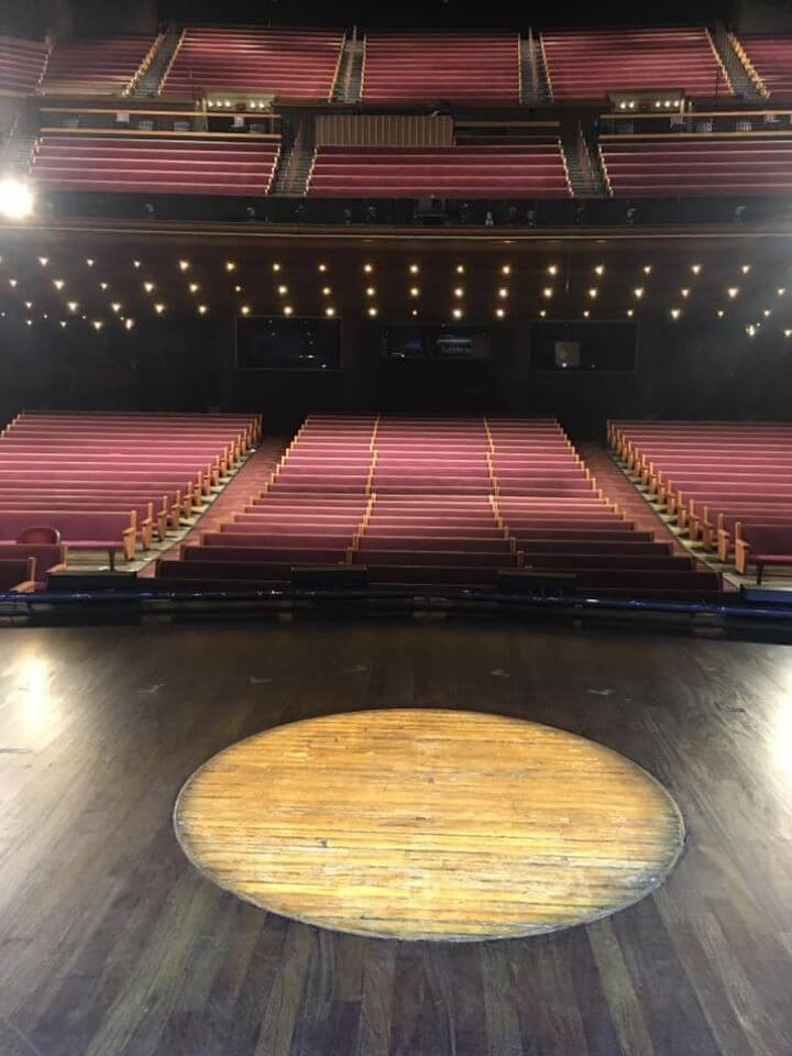From the stage looking out. In a few hours the house will be packed. This is the Ryman Auditorium where it all began